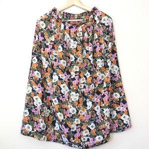 High waist Vintage floral midi skirt